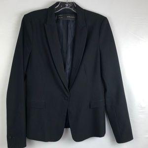 Zara basic black single button blazer tuxedo lapel